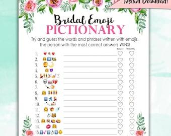 Bridal Shower Game Emoji Pictionary - EMOJI Pictionary - PINK PEONIES - Instant Printable Digital Download - diy Bridal Shower Printables