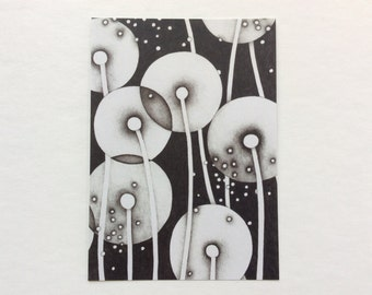 postcard - NOUR // 5x7 art print // art card // black and white // flower // mail art // dandelion // seed pod // small // miniature