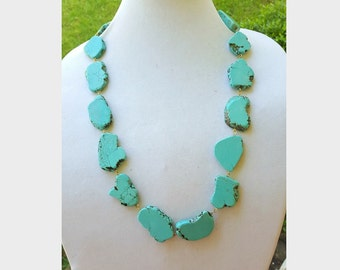 Long Turquoise Statement Necklace - Turquoise Jewelry - Stone Statement Necklace