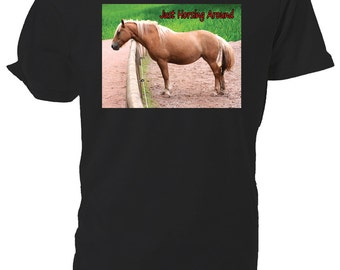 Palamino Horse T shirt. Just Horsing Around, classic round neck short sleeved choice of sizes and colours,