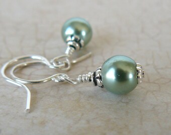 Small Green Pearl Earrings, Pale Green Glass Pearl Dangles, Tiny Green Earrings, Vintage Inspired Jewelry, Spring Jewelry
