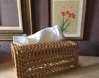Woven tissue box cover