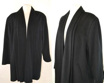 Vintage Black Wool Cape Coat, Swing Coat, Drape Jacket by Petite Ashley Scott