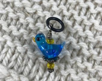 Knitting Crochet Progress Keeper - Fairytale Bluebird Stitch Marker - Knit Crochet Charm - Garden - Bohemian Cottage
