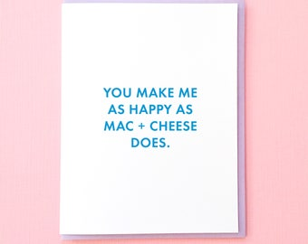 Galentine's Day Card. Mac and Cheese Valentine. Carb Valentine. Valentine for Him. Funny Anniversary Card. Best Friend Card. Funny Love Card
