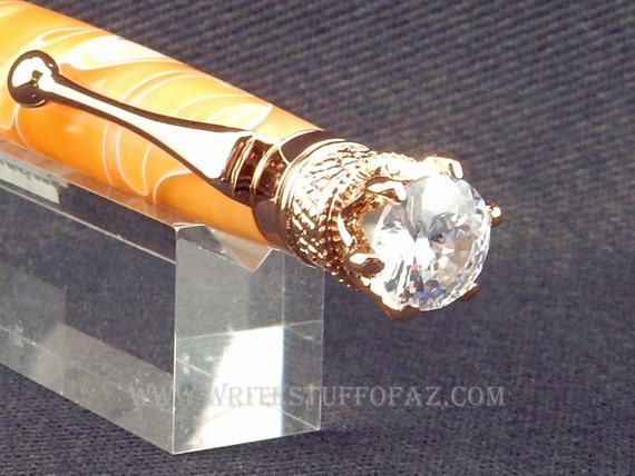 Mother's Day Butterscotch Yellow Twist Pen, Adorned with Swarovski Crystal