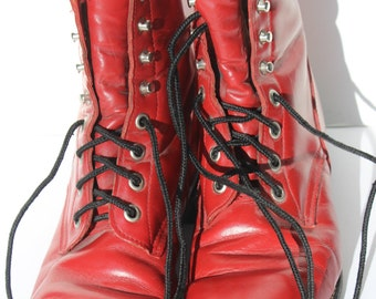 Vintage Justin Boots Red Riding Ropers Size 4 1/2 Riding Boots Lacers Vintage Riding Boots Vintage Cowgirl Boots Red Cowgirl Boots Leather