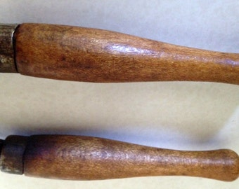 VINTAGE CURLING IRON, 40'S Curling Iron, Wooden Curling Iron, Metal Curling Iron