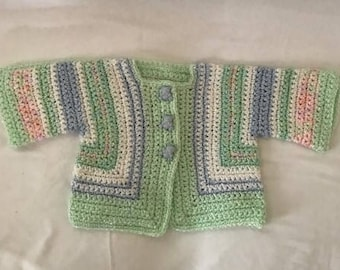 Infant Girl's Sweater with Teddy Bear Buttons