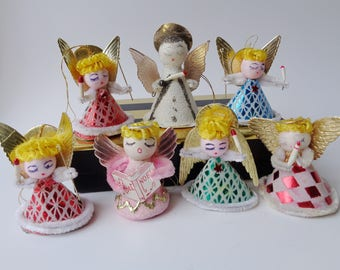 Vintage Spun Cotton Head Angel Ornament Lot of 7