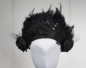 Burlesque goth flower Kokoshnik with black feathers, Frenchhood with sequin lace and feather trim