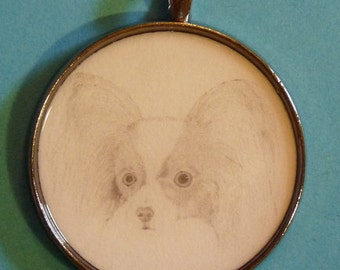 Papillon Original Pencil Drawing Pendant with Organza Pouch -Choice of Necklaces -Free Shipping- Desert Impressions