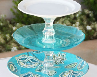 Turquoise Cupcake Stand Cake Stand glass Wedding 3 Tier Vintage