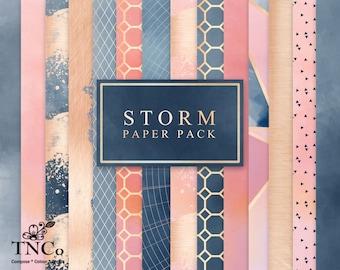 Watercolour digital paper - Navy digital paper - Rose gold foil digital paper - Modern print - Digital Paper Commercial use - Navy and gold