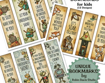 Teacher bookmark, Robot Bookmarks, Encouragement Gift, Little reader bookmarks, Bookmarks for kids, Fox bookmark, bookmark, RobinDavisStudio
