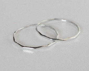 Two sterling silver rings, 1mm stacking rings, hammered stacking rings