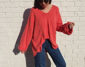 Chunky Coral Oversized 100% Cotton Slouchy Vintage Knit Sweater