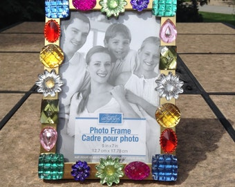 Multicolored Gems Gold Metal Photo Frame