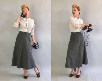 "Vintage 1940s Skirt | 40s Graphite Grey Gray Wool A-Line Button Front Skirt by ""Tilly Schanzer"" 