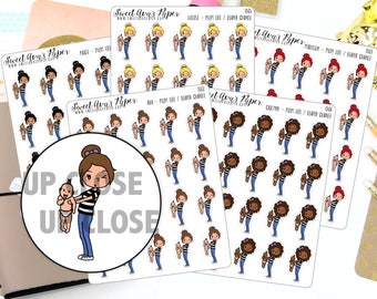 Diaper Planner Stickers - Mom Life Planner Stickers - Babysitting Stickers - Mom Life Stickers - 1302 - 1303 - 1304 - 1305 - 1306