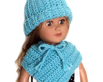 18 Inch Doll Aqua Blue Doll Poncho and Hat, Crocheted Poncho and Hat with Pom Pom, Winter Doll Clothes