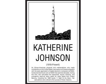 Math Poster,  Printable Poster, Maths, Education. Mathematicians, Katherine Johnson