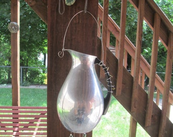 Recycled Vintage Metal Water Pitcher Silverware Wind Chime