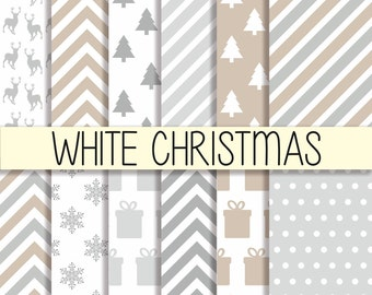 White Christmas Patterns - Xmas backgrounds - Instant download - Christmas wrapping - Digital Paper Pack - Set of 12 Papers - 12x12 inch