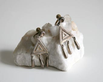 Mexico Taxco Sterling Triangle Dangle Clip Earrings