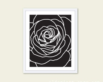 Rose Modern Flower Art Print  - Black and White Contemporary Flower Wall Art  -  Home Decor - Black Rose Poster - Under 20