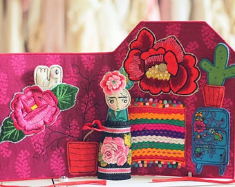 Frida Kahlo's  house fabric activity book, quiet book