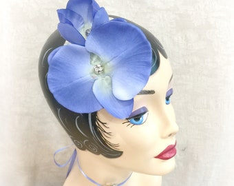 Orchid Fascinator - Periwinkle Blue Fascinator - Blue Orchid Fascinator - Flower Fascinator - Fascinator Hat - Ready to Ship - Handmade USA