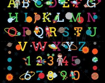 Space Alphabet Clipart, Space Alphabet Clip Art, Astronaut Clipart, Astronaut Clip Art - Commercial and Personal Use