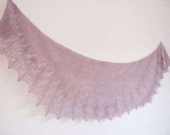 Châle tricoté main - Dentelle - Mohair - coloris vieux rose