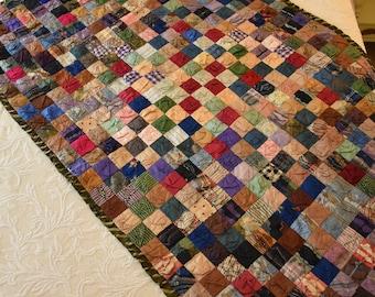 Antique Child's Quilt--Large--with Puff Blocks in Jewel Tones