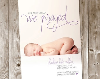 For This Child We Prayed DIY Printable Birth Announcement - Christian - Baby Boy - Baby Girl