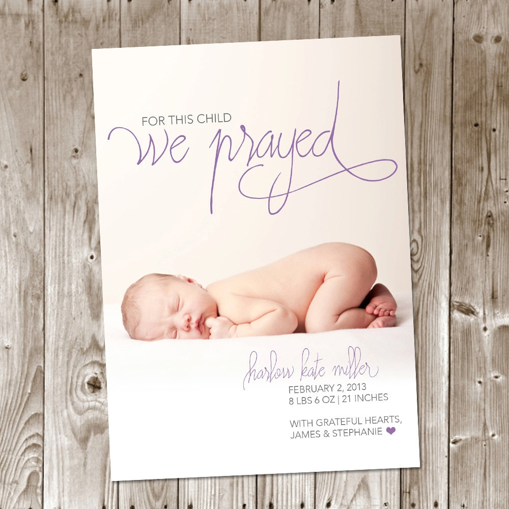 For This Child We Prayed DIY Printable Birth Announcement