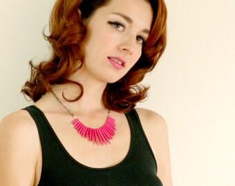 Fuchsia Pink Howlite Spike Collar Necklace