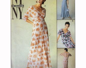 Sewing Pattern for Empire Waist Dress with Slimming Midriff Panel + Full Slip Vintage 90s Size 8 10 12 Bust 31.5-34 McCall's 9263