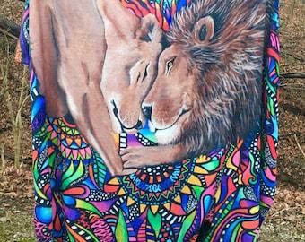 Lion Blanket - Throw - Lion Art - Fleece Blanket - Baby Blanket - Bedding - Lions - Animal Blanket