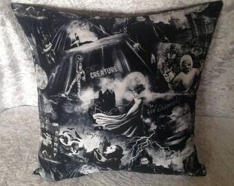 Handmade Black Horror B Movie Characters 16 Inch Cushion Cover