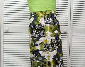 Vintage 60s Maxi Dress Womens Batik Print Pencil Skirt Chartreuse Green Bodice Nellie's Gowns Formal Tiki Polynesian Cocktail Costume Small