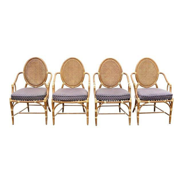 Set Of Four Vintage McGuire Palm Beach Rattan Double Cane Back Dining Chairs