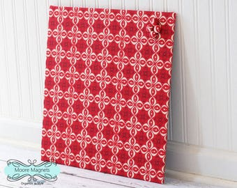 Wall Mount Magnet Board 16inx16in No Frame - Ivory and Black Petals on Red Fabric - Note Board Message Board Command Center Organization