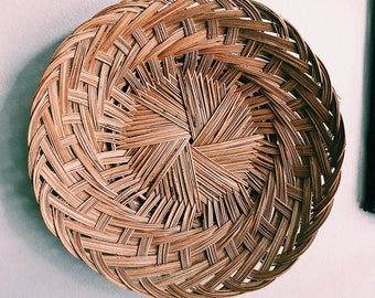 Vintage Woven Rattan Basket / Round Hanging Wall Basket / Boho Fruit Bowl / Made in Philippines