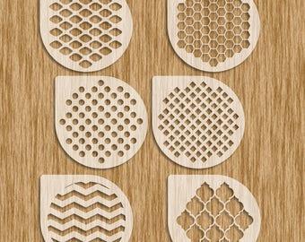 "Shapes & Patterns Sampler / 6 Piece (4"" diameter) Cookie Set Stencils - Sku SPC0100"