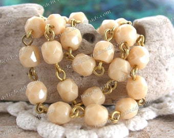 6mm Quality Czech Fire Polished Glass Bead Chain, Beige Raw Brass Rosary Chain, Beaded Chain, Jewelry Chain, 1 Foot   CHN-226