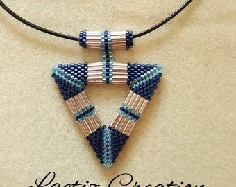 Blue Miyuki beads triangle pendants