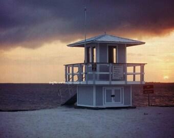 Stormy Sunset Lifeguard Photo, Palm Tree Beach Photography, Florida Travel Art, Tropical Coastal House Decor, Nautical Home Decor Wall Art
