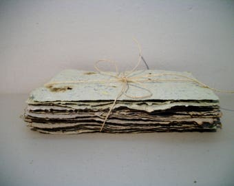 """Handmade Paper 20 sheet pk. assortment of textured paper, for art/dream journaling or scrapbooking, etc. Deckle edge. 5""""x8""""  Handmade USA"""